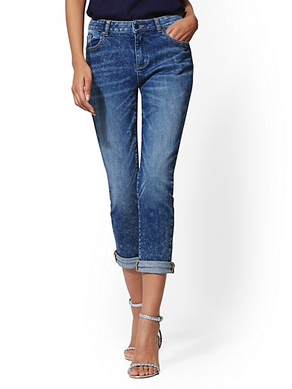 Frayed Crop Straight Leg - Party Blue - Soho Jeans - New York & Company