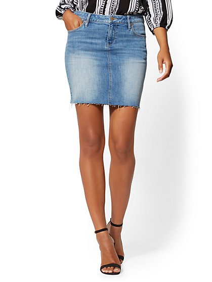 Frayed Mini Skirt - Blue Rock - Soho Jeans - New York & Company