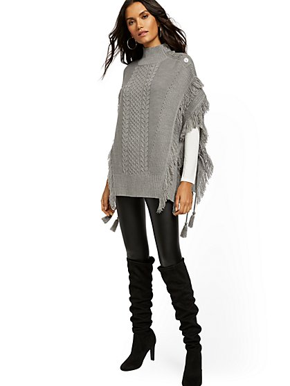 Fringe Button-Accent Poncho - New York & Company