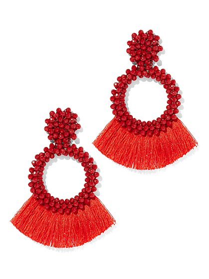 Fringe Hoop Drop Earring - New York & Company