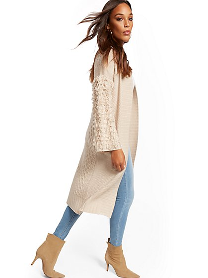 Fringe-Sleeve Duster Cardigan Sweater - New York & Company