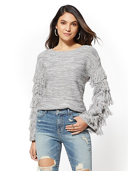 Fringe-Sleeve Scoopneck Sweater - New York & Company