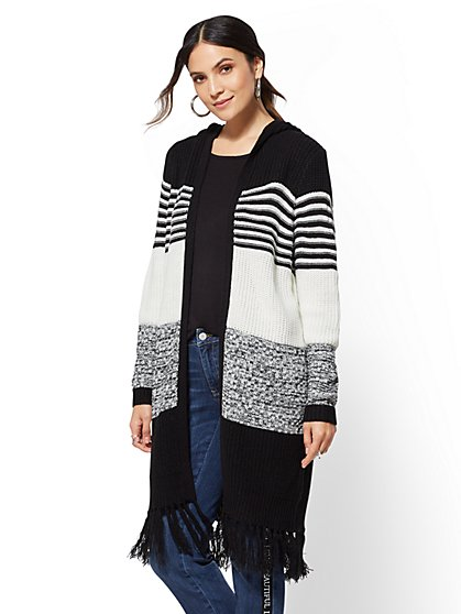 Fringe-Trim Hooded Duster Cardigan - New York & Company