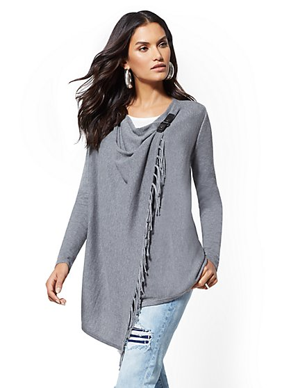 Fringe-Trim Open-Front Cardigan - New York & Company