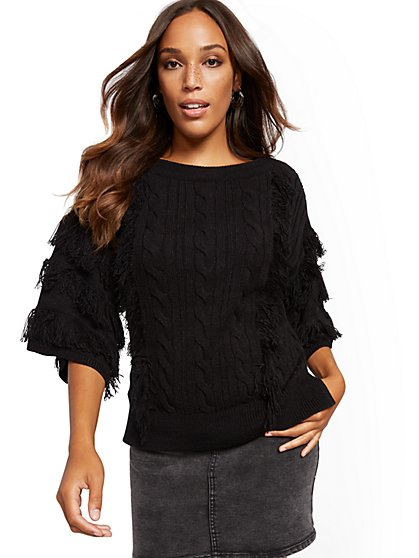 Fringed Cable-Knit Sweater - New York & Company
