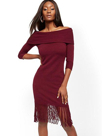 Fringed Convertible Cowl-Neck Sweater Dress - New York & Company