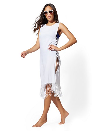Fringed Lace-Up Cover Up - NY&C Swimwear - New York & Company