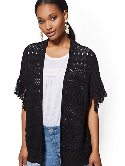 Fringed Open-Front Dolman Cardigan - New York & Company