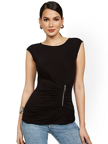 Front-Ruche Side-Zip Top - New York & Company
