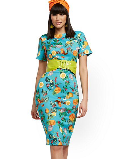 Fruit-Print Midi Sheath Dress - New York & Company