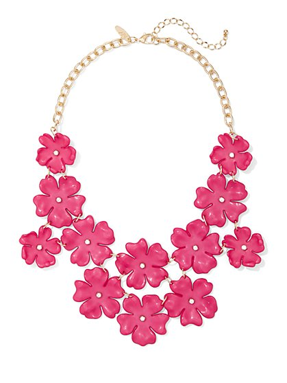 Fuchsia Floral Statement Necklace - New York & Company