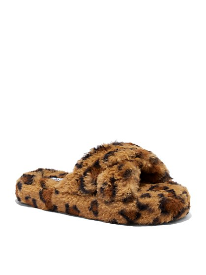 Furry Crossover Slippers - Leopard Print - New York & Company