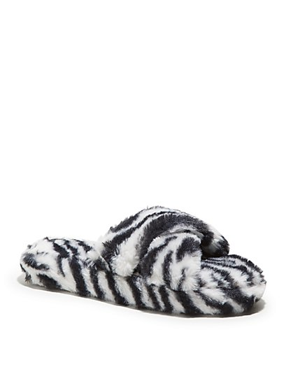 Furry Crossover Slippers - Zebra Print - New York & Company