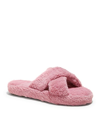 Furry Crossover Slippers - New York & Company