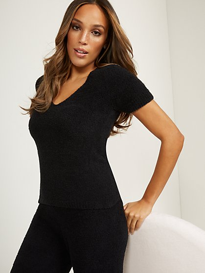 Fuzzy V-Neck Top - Ultra Cozy Collection - New York & Company