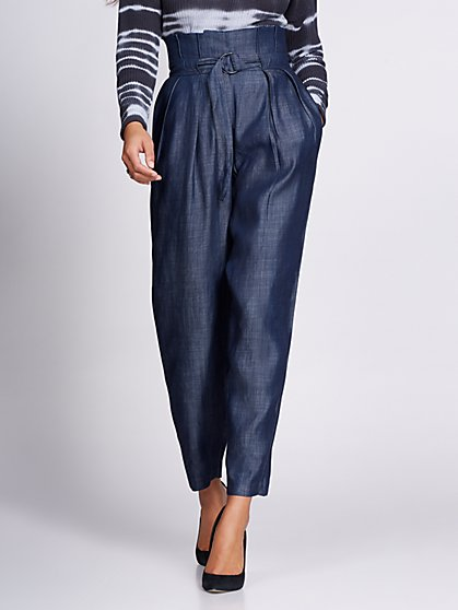 Gabrielle Union Collection - Belted Paperbag-Waist Pant - New York & Company