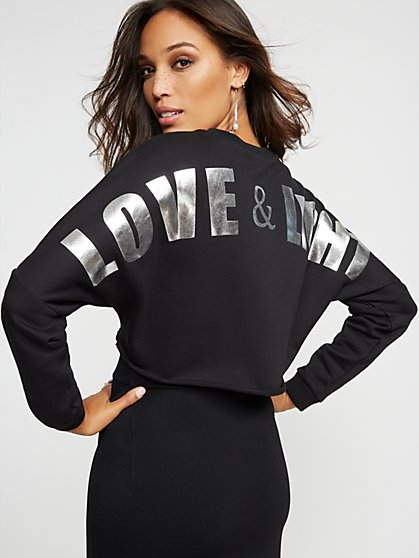 "Gabrielle Union Collection - Black Metallic ""Love & Light"" Sweatshirt - New York & Company"