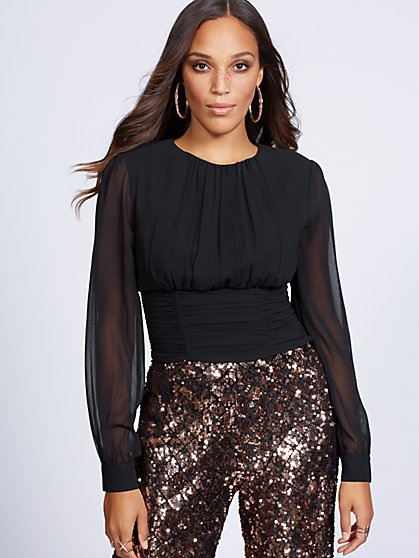 Gabrielle Union Collection - Black Shirred Blouse - New York & Company