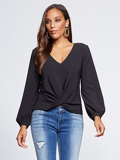 Gabrielle Union Collection - Black V-Neck Blouse - New York & Company