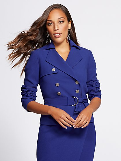 Gabrielle Union Collection - Blue Short Trench Coat - New York & Company