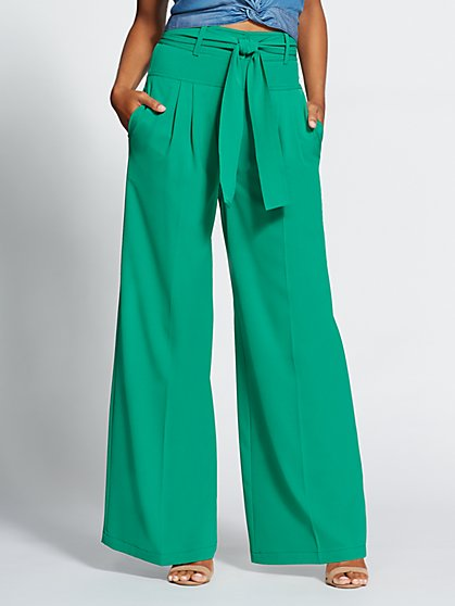 Gabrielle Union Collection - Green Wide-Leg Pant - New York & Company