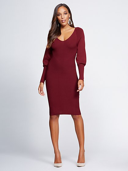 Gabrielle Union Collection - Maroon V-Neck Sweater Dress - New York & Company