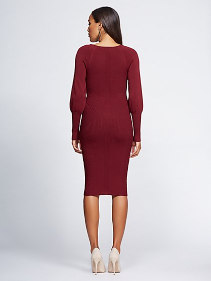 08212c9eac2 NY C  Maroon V-Neck Sweater Dress - Gabrielle Union Collection