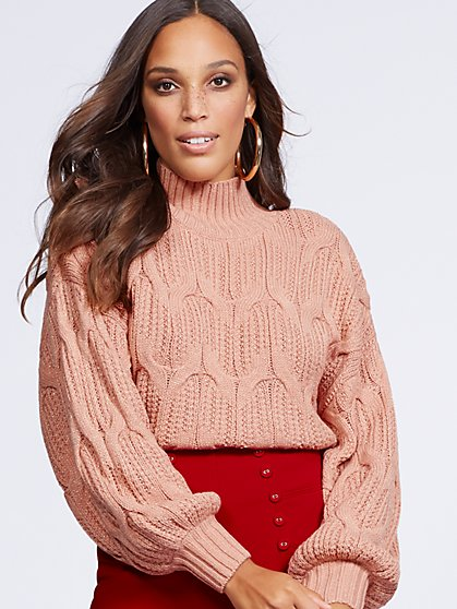 Gabrielle Union Collection - Metallic Mock-Neck Sweater - New York & Company