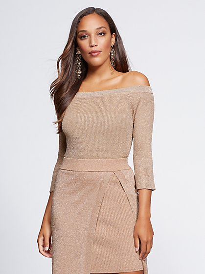 Gabrielle Union Collection - Metallic Off-The-Shoulder Sweater - New York & Company
