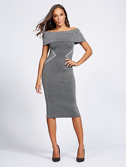 Gabrielle Union Collection Metallic Sweater Dress New York Company