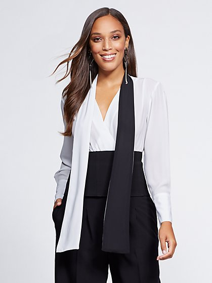 Gabrielle Union Collection - Petite Colorblock Wrap Blouse - New York & Company