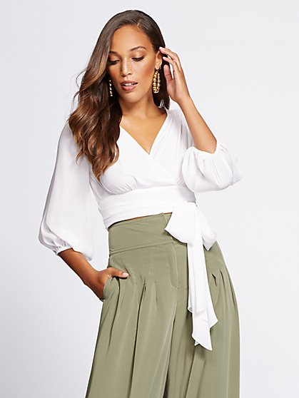 Gabrielle Union Collection - Petite Crop Tie-Front Blouse - New York & Company