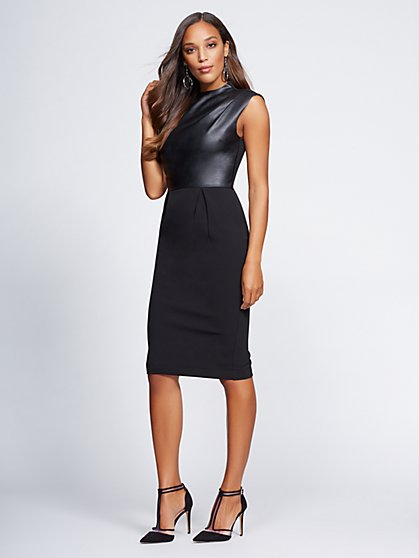 Gabrielle Union Collection - Petite Faux-Leather Sheath Dress - New York & Company