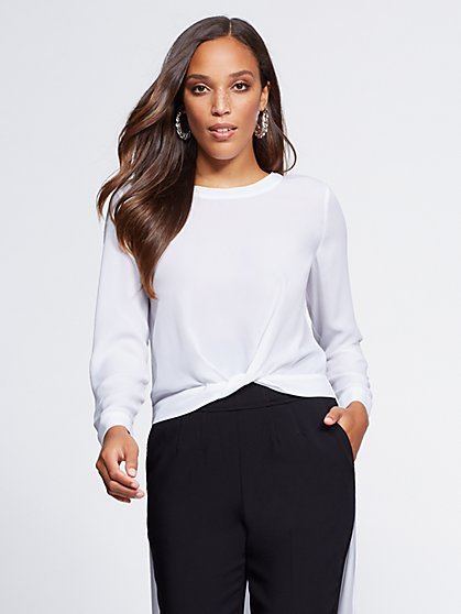 Gabrielle Union Collection - Petite Twist-Front Hi-Lo Blouse - New York & Company