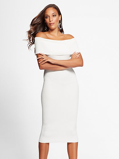 Gabrielle Union Collection - Petite White Sweater Dress - New York & Company