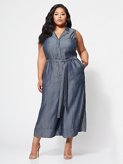 62fd72c2cc9 NY C  Gabrielle Union Plus Collection - Ultra-Soft Chambray Jumpsuit