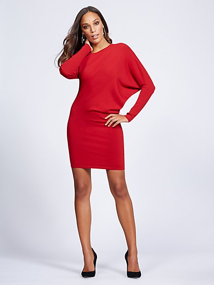 Gabrielle Union Collection - Red Asymmetrical Dolman Dress - New York & Company