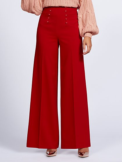 Gabrielle Union Collection - Red High-Waist Palazzo Pant - New York & Company