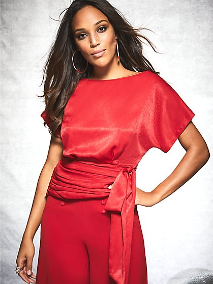 Gabrielle Union Collection - Red Side-Bow Blouse - New York & Company