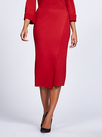 Gabrielle Union Collection - Red Wrap Sweater Skirt - New York & Company