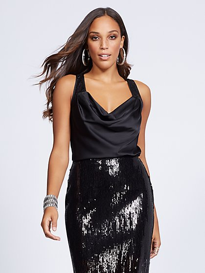 Gabrielle Union Collection - Sequin-Accent Satin Tank Top - New York & Company