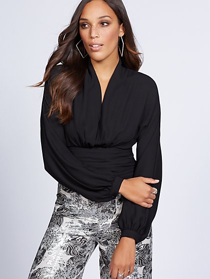Gabrielle Union Collection - Shirred V-Neck Blouse - New York & Company