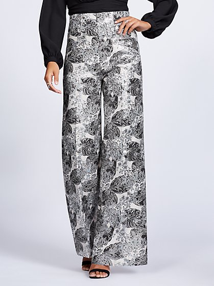 Gabrielle Union Collection - Silvertone Floral Jacquard Palazzo Pant - New York & Company