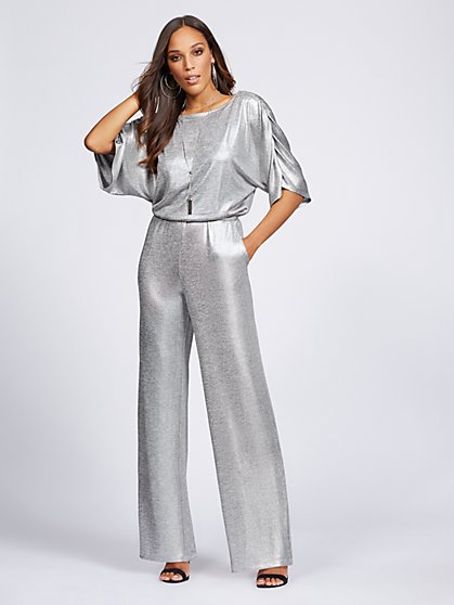 Gabrielle Union Collection - Silvertone Metallic-Foil Jumpsuit - New York & Company