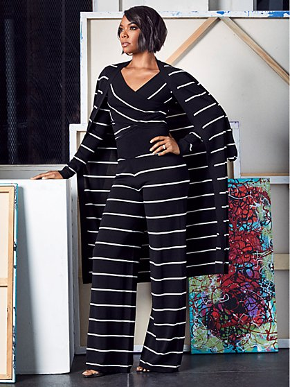 Gabrielle Union Collection - Stripe Crisscross Wrap Sweater - New York & Company