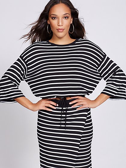 Gabrielle Union Collection - Stripe Crop Sweater - New York & Company