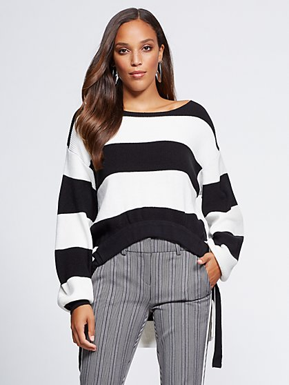Gabrielle Union Collection - Stripe Hi-Lo Sweater - New York & Company