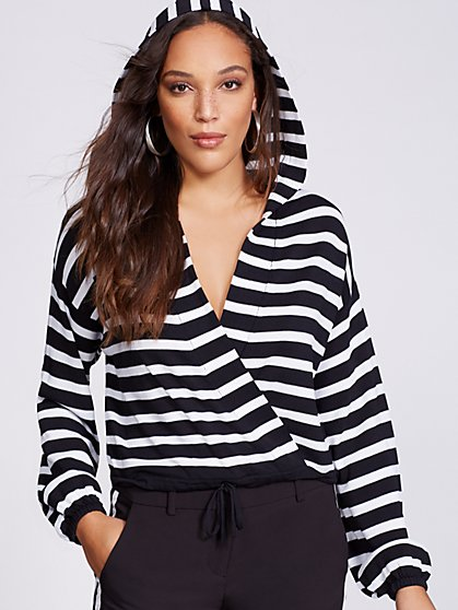 Gabrielle Union Collection - Stripe Hooded Wrap Sweater - New York & Company