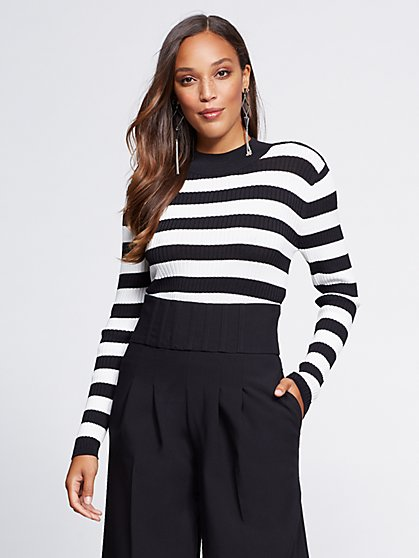 Gabrielle Union Collection - Stripe Mock-Neck Sweater - New York & Company