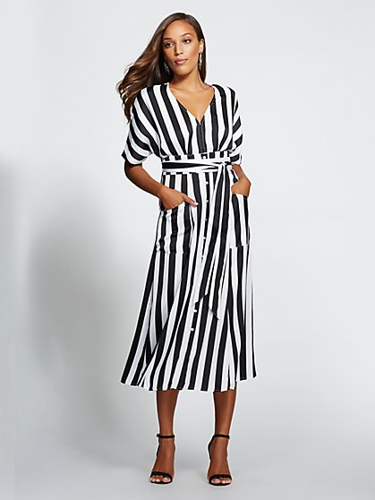 Gabrielle Union Collection - Striped Kimono Midi Dress - New York & Company